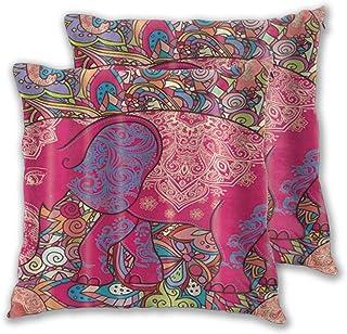 LONSANT Fundas de Cojines 45x45cm,Elefante África Bosque Tropical Animal Rojo Imagen geométrica,decoración Cuadrado Fundas de Almohada Funda de cojín para sofá Dormitorio,Pack de 2