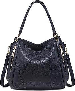 FORRICA Handtaschen Damen Mode Hobo Schultertasche PU Leder Tote Tasche Groß Frauen Umhängetasche Shopper Schwarz