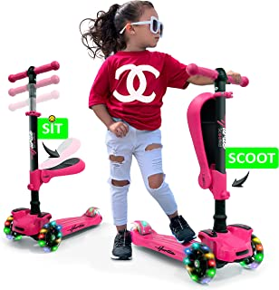 Hurtle 3 Wheeled Scooter for Kids - 2-in-1 Sit/Stand Child Toddlers w/Flip-Out Seat, w/Footrest, Adjustable Height, Wide Deck, Flashing Wheel Lights, for Children 1 to 14 Year-Old, for Outdoor- Pink