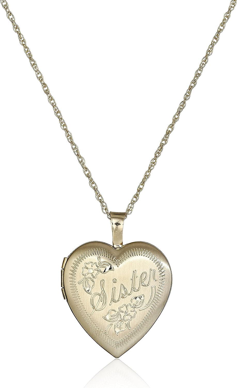 14k Gold-Filled Hand Engraved Locket Necklace Super sale Gifts Heart Sister