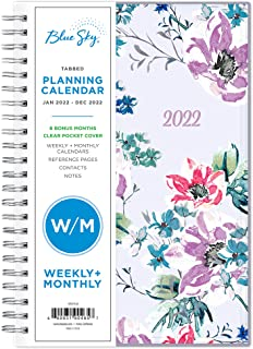 """$30 » Blue Sky 2022 Weekly & Monthly Planner, 5"""" x 8"""", Flexible Cover, Wirebound, Laila (137276-22)"""