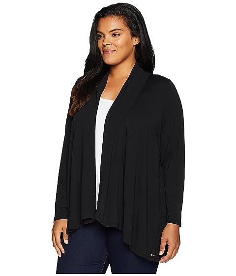 Calvin Klein Plus Plus Size Open Cardigan w/ Chiffon Black 100% Guaranteed For Sale GPiLNXEHx