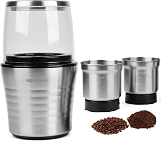 Multipurpose Electric Coffee Bean Grinder with 2 Removable Cups - Premium Stainless Steel Mill Grinding Tool for Seeds, Spice, Herbs, Nuts & Other Dry and Wet Ingredients | 200W Fast Grind in Seconds
