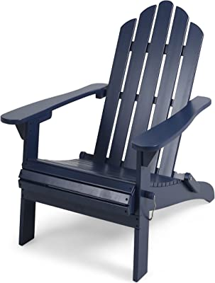 Great Deal Furniture Cara Outdoor Foldable Acacia Wood Adirondack Chair, Blue Finish