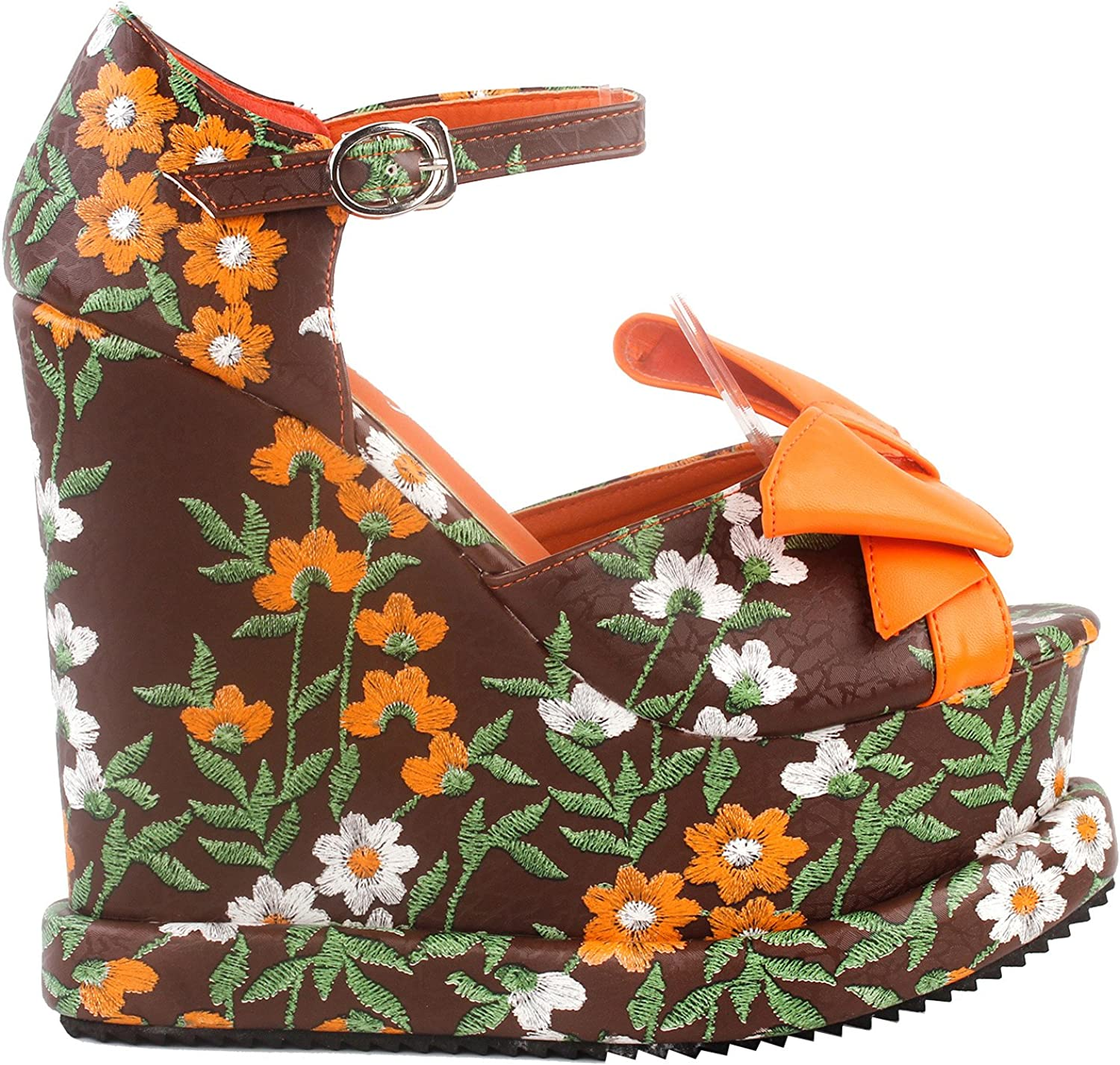 Show Story Woman Brown orange Floral Print Bow Ankle Strap Wedge Platform Sandals,LF38829