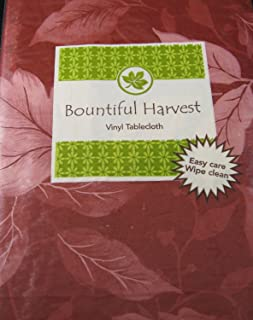 Bountiful Harvest Flannel Back Vinyl Tablecloth Red Leaves by Elrene- Assorted Sizes up to 120 Inches. Oblong and Round (5...