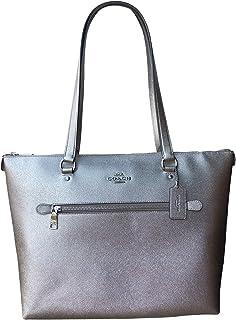 Metallic Crossgrain Leather Gallery Tote Platinum One Size