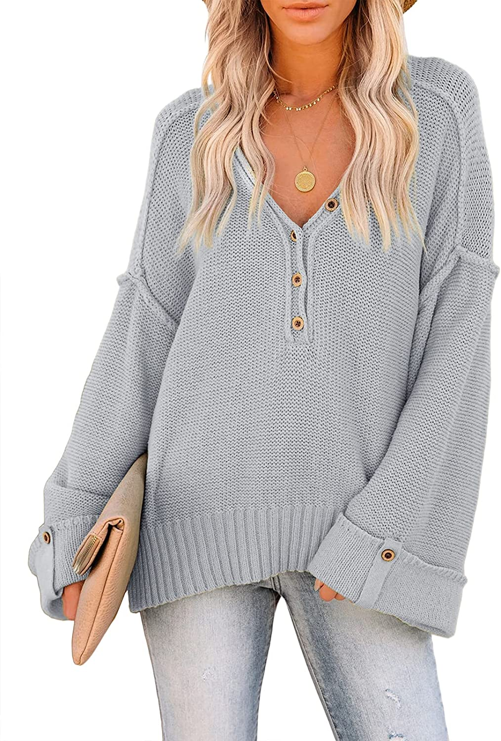 Ybenlow Womens Casual V Neck Pullover Sweaters Side Split Knit Loose Lightweight Bell Long Sleeve Jumper Tops