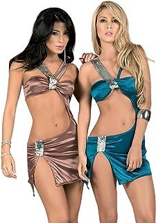 Espiral NWT 4032 Brown Blue Sequins Clubwear Dance Exotic Mini Dress Top Rave S M L XL