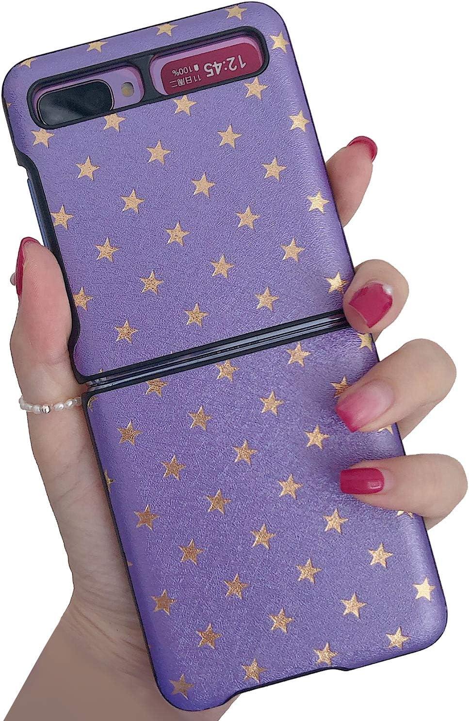EZICOK Leather Case for Samsung Galaxy Z Flip 5G Case Cover Minimalist Ultra Thin Slim Durable Protective Phone Cases for Samsung Galaxy Z Flip - Purple Star