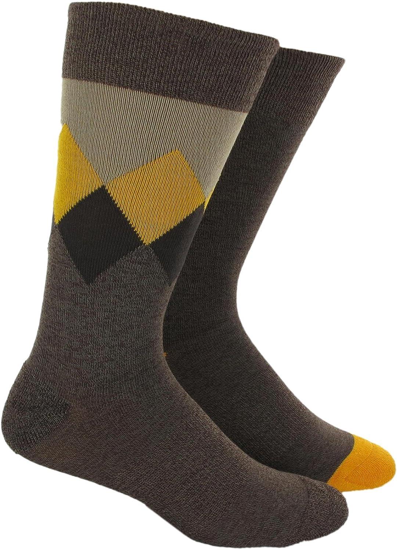 adidas Men's Sport Casuals Argyle Crew Sock, Pack of 2 (Dark Khaki Marled/Brown/Still Gold, Men's Shoe Size 10-13)