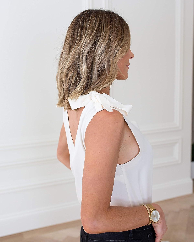 The Drop Women's Whisper White Shoulder-Tie V-Neck Tank Top by @cellajaneblog