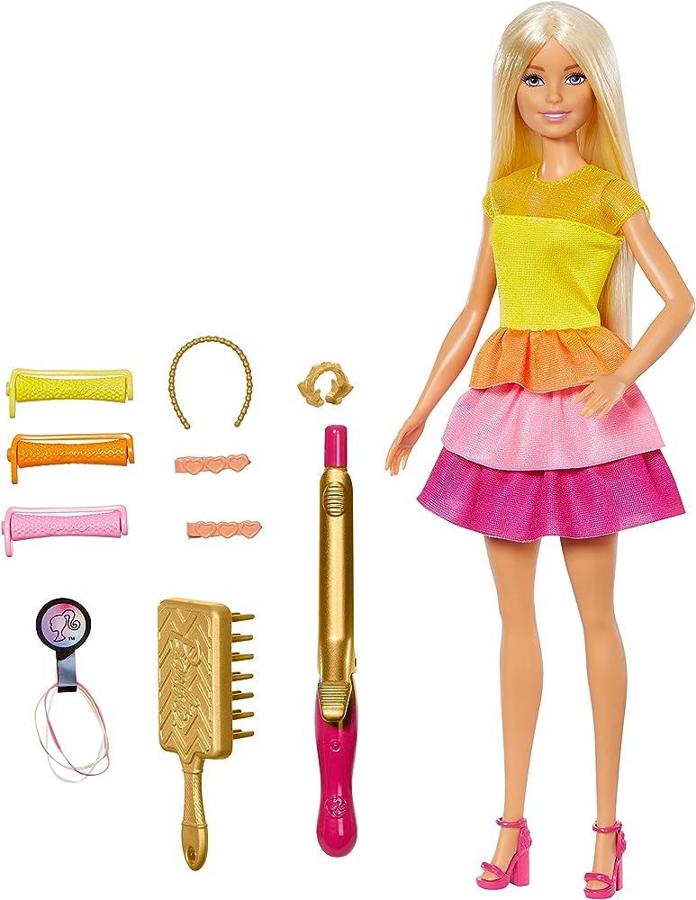 Barbie ,ricci perfetti, bambola bionda con capelli lunghi da pettinare con pettine, bigodini e accessori GBK24