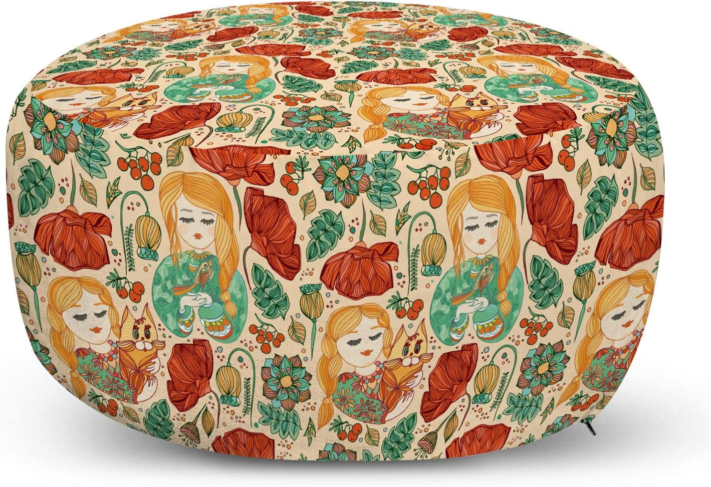 Ambesonne Floral Ottoman Pouf Pattern Girls Rare with Young Cat 5 popular