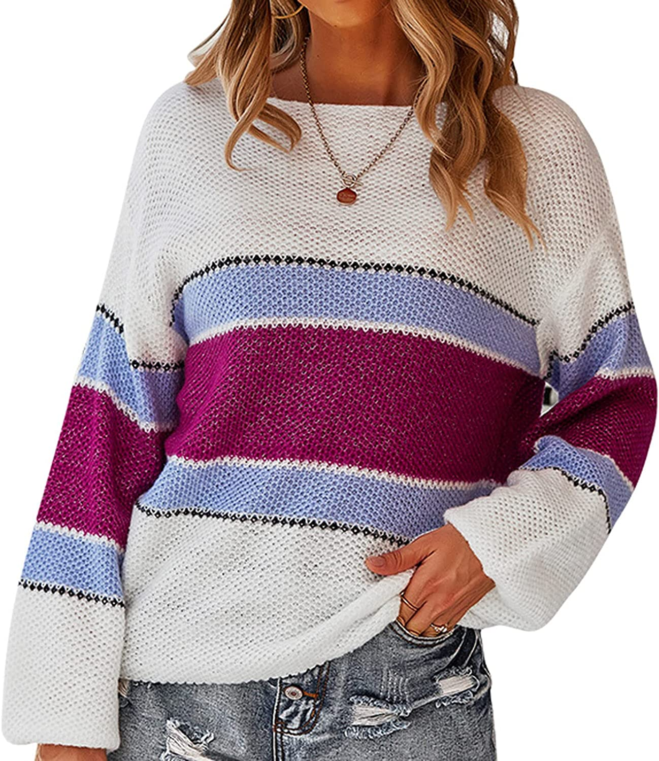 Women's Pullover Sweater Batwing Long Sleeve Casual Loose Oversized Color Block Striped Patchwork Knit Sweater Jumper Tops