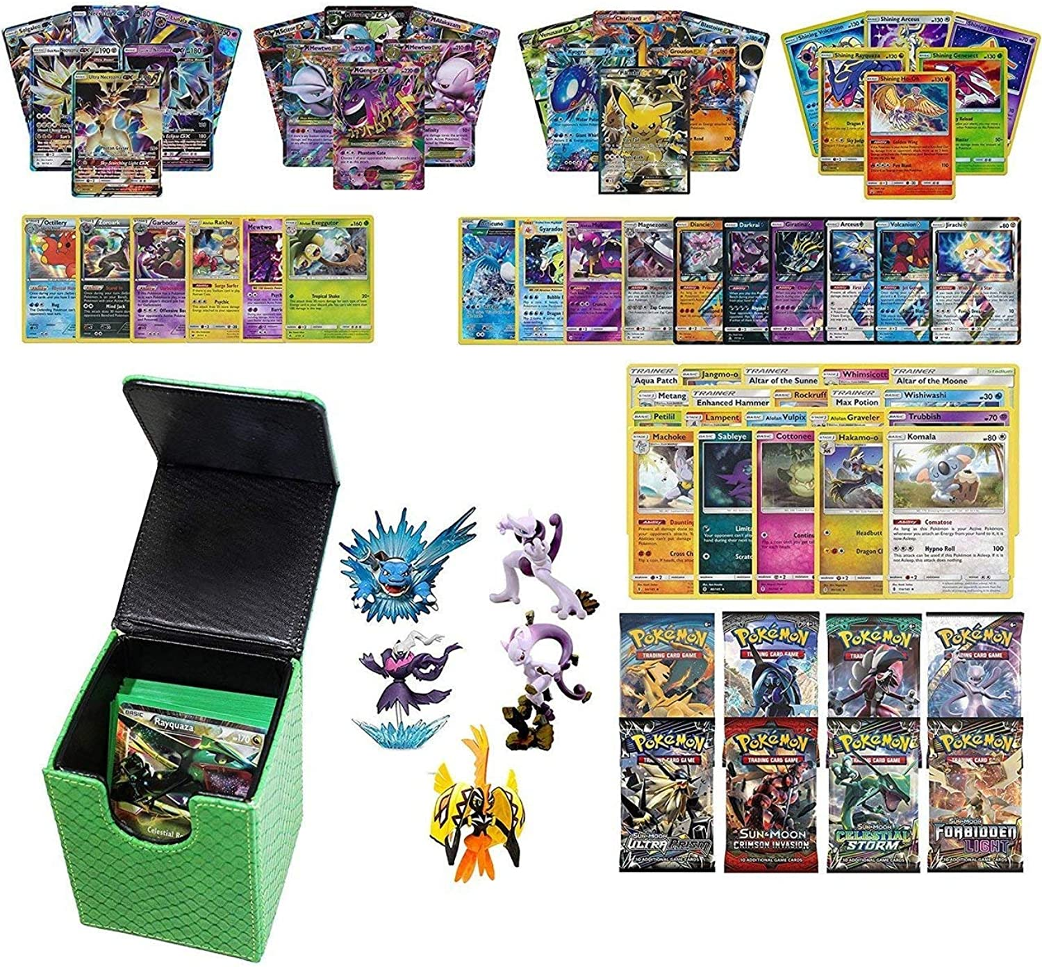 Playoly Pokemon Premium Collection 100 Cards with GX Mega EX Shining Holo 10 Rares 4 Booster Pack Green Dragonhide Deck Box and Figure