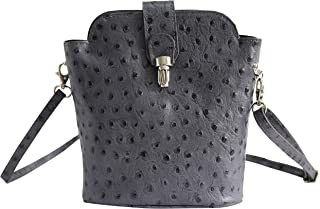 AmbraModa SL 704 - Borsa a tracolla donna piccola, borsa a spalla, piccola borsa italiana realizzata in vera pella. (antra...