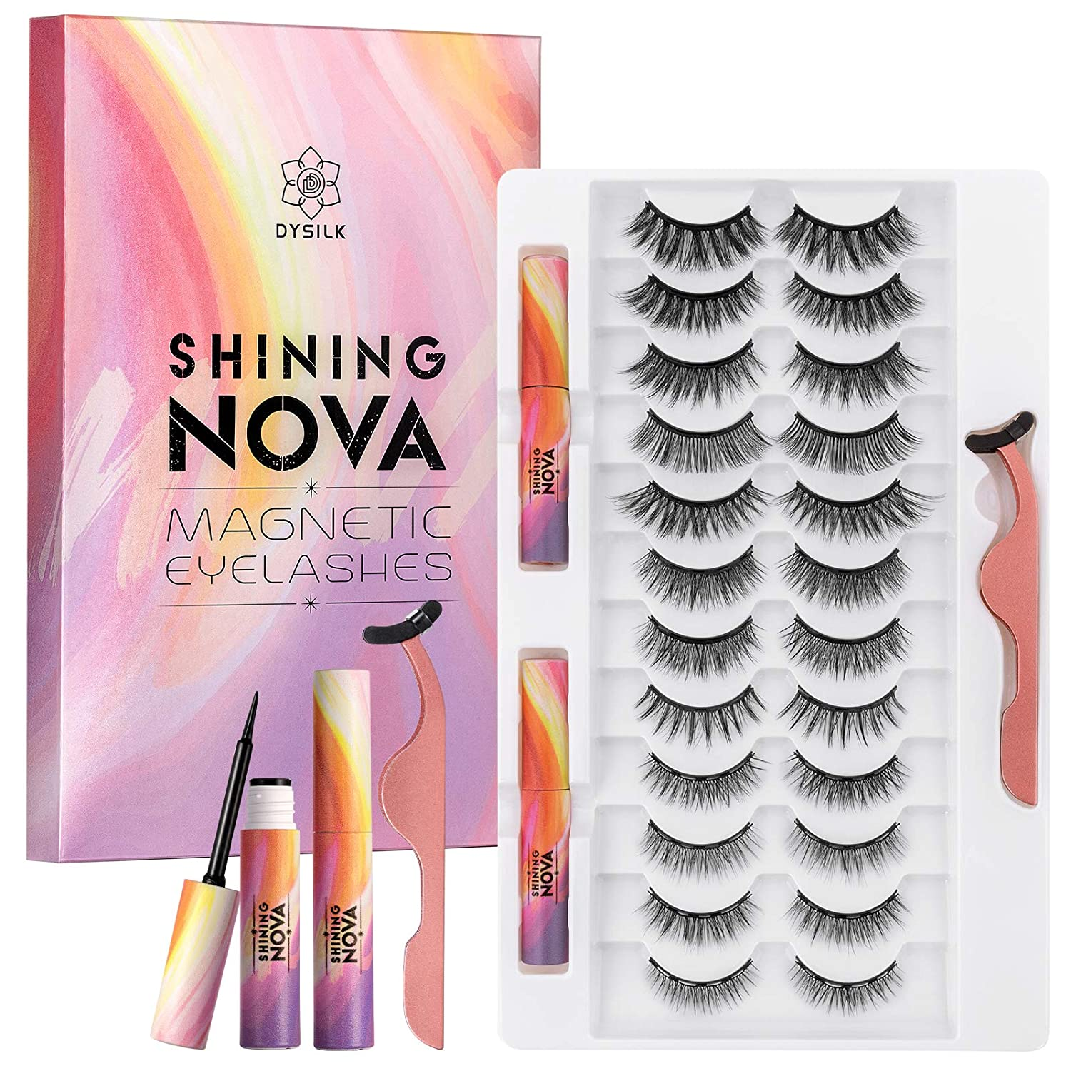 DYSILK Max 84% OFF 12 Pairs Magnetic Eyelashes Kit Challenge the lowest price 3D and Upgraded Eyeliners