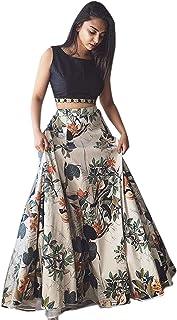 0908f11d2cf891 Fashionable village Women's Cotton Silk Lehenga Choli With Blouse  Piece_Black white floral_Free Size