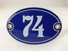 Emaille huisnummer bord nr. 74, ovaal, blauw-wit Nr. 74 Blau-Weiß