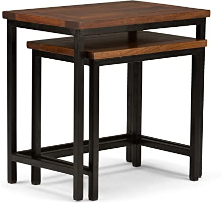 Simpli Home 3AXCSKY-06 Skyler Solid Mango Wood and Metal 25 inch wide Modern Industrial Nesting 2 Pc Side Table in Dark Cognac Brown