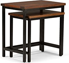 Simpli Home 3AXCSKY-06 Skyler Solid Mango Wood and Metal 25 inch Wide Rectangle Modern Industrial Nesting 2 Pc Side Table in Dark Cognac Brown, Fully Assembled