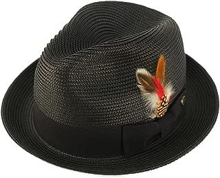 Men's Handsome Feather Derby Fedora Tall Crown Upturn Curl Brim Hat
