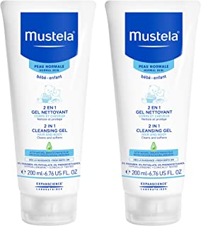 Mustela 2 in 1 Cleansing Gel, Baby Body & Hair Cleanser for Normal Skin, Tear-Free, with Natural Avocado Perseose, Available in 1-Pack or 2-Pack