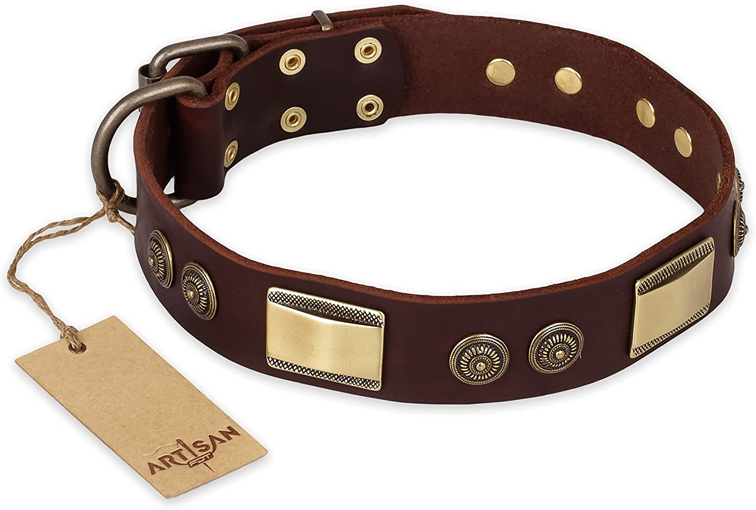 35 inch Fancy Brown Leather Dog Collar   Vintage Trimness  Brass Decor by Artisan  Exclusive Handcrafted Item  1 1 2 inch (40 cm) wide  Gift Box Included