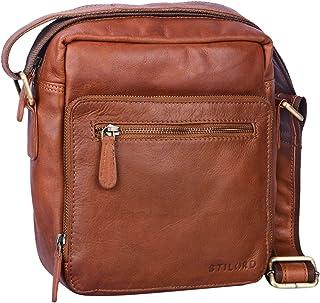 """STILORD Nathan"""" Umhängetasche Herren Leder klein braun Vintage Herrentasche 10,1 Zoll Tablettasche für iPad echtes Leder"""