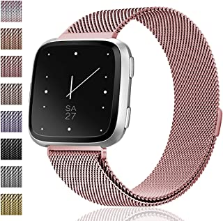 Maledan for Fitbit Versa Bands, Stainless Steel Milanese Loop Metal Mesh Bracelet with Magnet Lock, Replacement Wristbands for Fitbit Versa Fitness Smartwatch, Large Small, Women Men