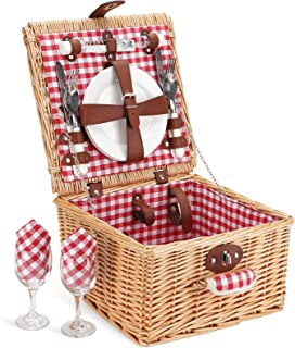 Home Innovation Picnic Basket for 2 Person, Durable Wicker Picnic Hamper Set, Willow Picnic Basket Accessories Plates and ...