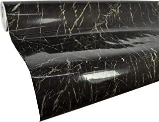 VViViD High Gloss Realistic Finish Black Marble White Veined Architectural Vinyl Wrap 16 inches x 78 inches Roll (2 Roll Pack)