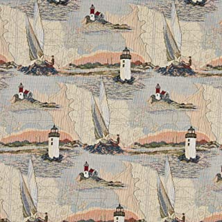 A006 Lighthouses Calm Water Sailboats Themed Tapestry Upholstery Fabric by The Yard