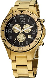 Akribos XXIV Men's 'Ultimate' Chronograph Watch - 3 Multifunction Subdials with Date Window On Stainless Steel Bracelet Watch - AK616