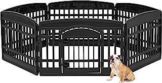 IRIS 24'' 6 Panel Exercise Pet Playpen with Door, Black
