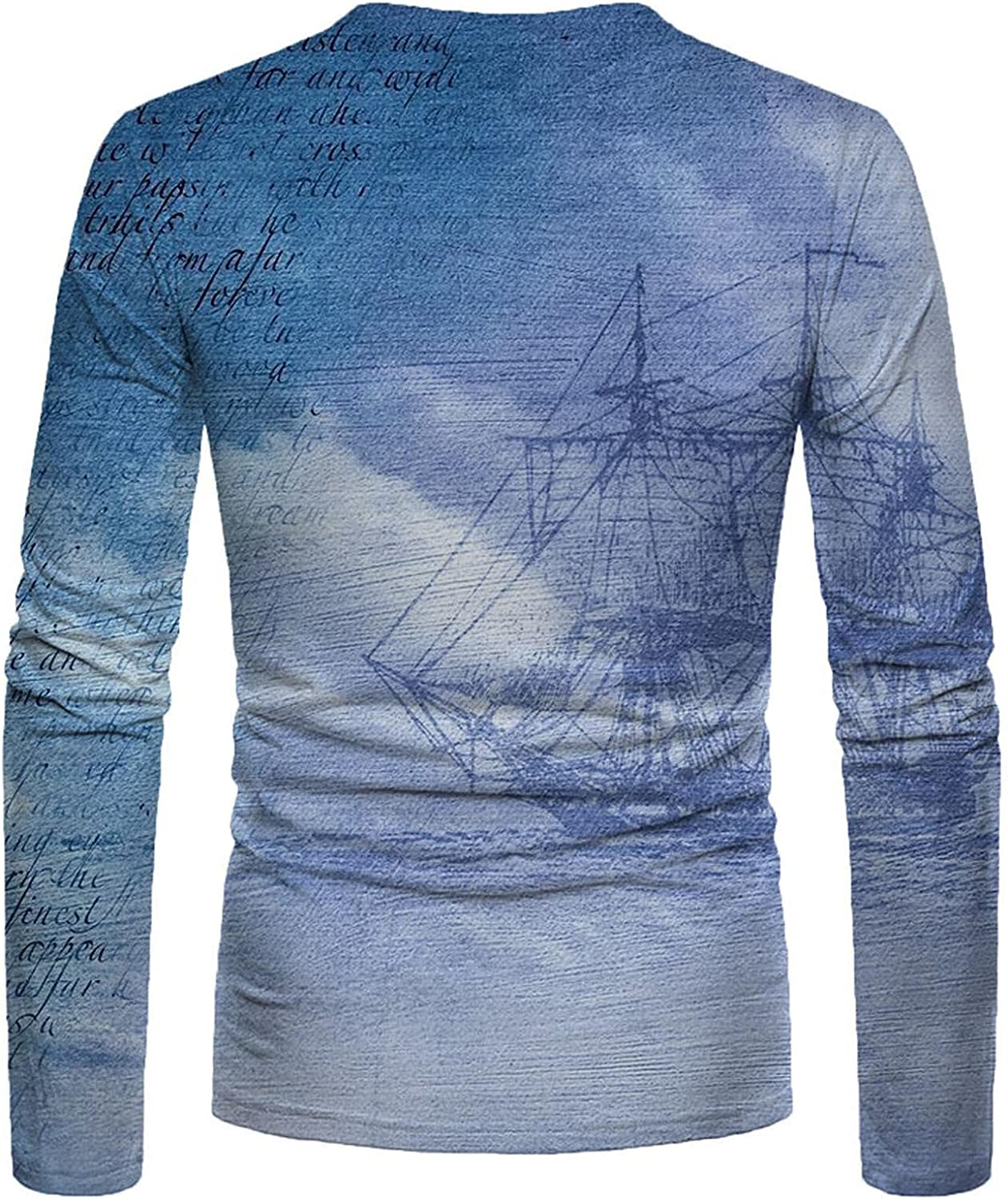 Shirts for Men Men's Autumn And Winter Casual Fashion Printed Round Neck Long-sleeve Tee Mens Shirts Polo Mens Shirts