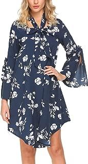 SE MIU Women Split Sleeve Hi-Low Hem O Neck Floral Party Dress with Belt