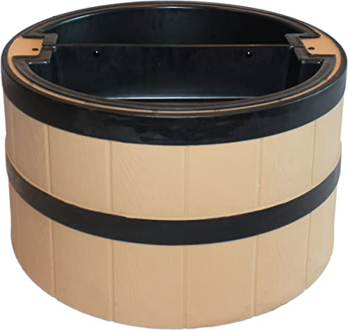 lowest TankTop Covers Decorative 31-Inch Whiskey Barrel discount Planter Style Septic, lowest Well, Lawn, and Garden Enclosure - Straw online