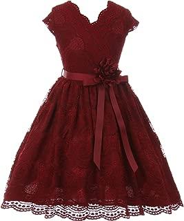 CrunchyCucumber Cap Sleeve V Neck Floral Lace with Corsage Flower Belt Girl Dress