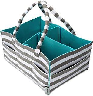 Diaper Caddy Organizer by Arabella Baby - Portable Nursery Changing Station for Boy or Girl - Modern Newborn Baby Shower Gift Basket - Travel Tote Car Diaper and Wipes Organizer | Teal