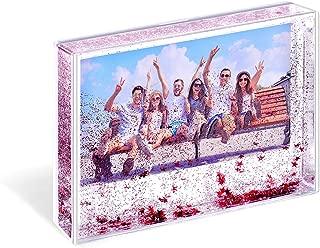 Kingho Acrylic Liquid Glitter Photo Frame Photo Gifts Floating Glitter 1pcs (XL(4x6) red)