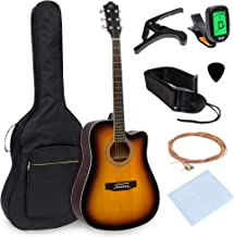 Best Choice Products 41in Full Size Beginner Acoustic Cutaway Guitar Kit Set w/Padded Case, Strap, Capo, Extra Strings, Di...