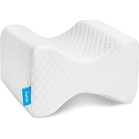Luna Orthopedic Knee Pillow for Sciatica Relief, Back Pain, Leg Pain, Pregnancy, Hip and Joint Pain - Memory Foam Wedge Contour for Side, Back & Side Sleepers - Certipur-Us & Designed in USA