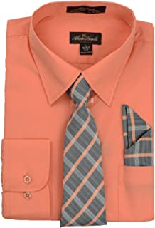 Men's Long Sleeve Dress Shirt with Matching Tie and Handkerchie Set