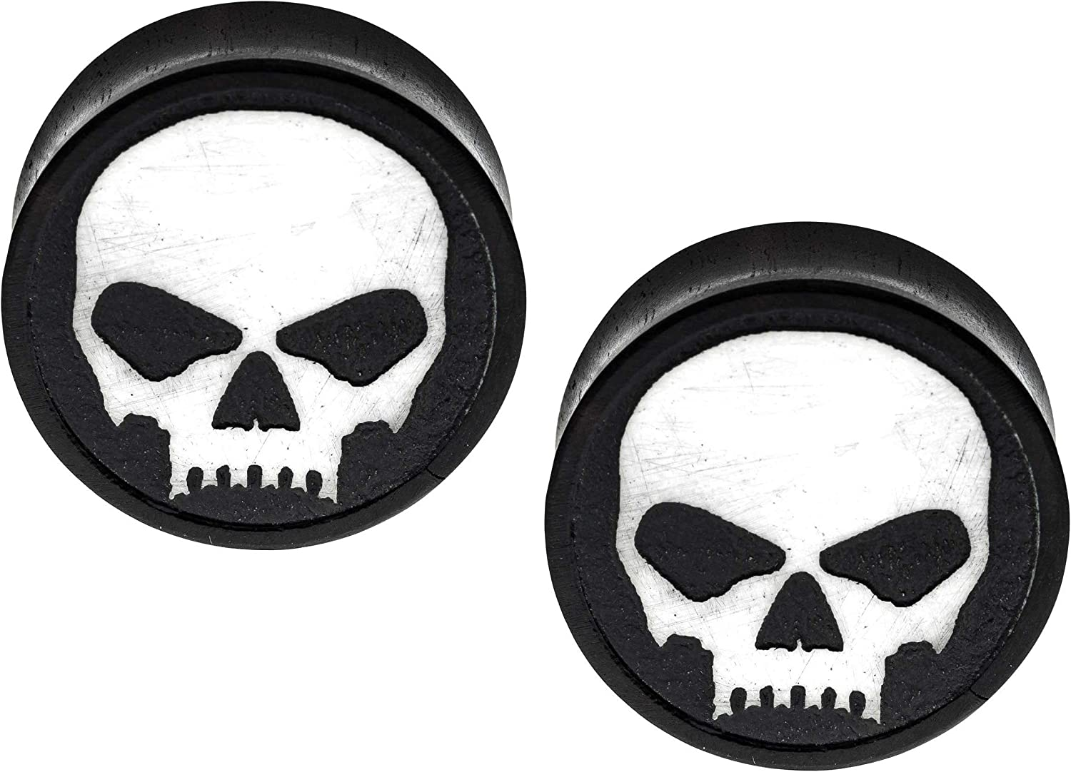 Pierced Owl White Max 57% OFF Skull Iron Wood Plugs Inexpensive Saddle Sol Front-Facing