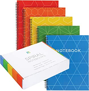 Spiral Notebooks With Gift Box College Ruled, Red Orange Yellow Green Blue, Heavy Paper, Large Size 11 x 8-1/2in, 140 pages, No Ink Bleeds, Impressive Gift All Year for All Ages!