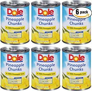 Dole Pineapple Chunks In 100% Pineapple Juice, 20oz Can (Pack of 6, Total of 120 Oz)