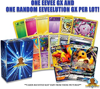 50 Pokemon Card Lot - Featuring 1 Eevee GX 1 Random Eeveelution GX - Energy - Rares - Foils! Includes Golden Groundhog Storage Box!