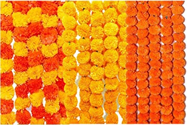 Logro Pack of 15pc Strings Artificial Marigold Flowers for Home Decoration, Diwali, Ganesh Festival Decoration Yellow, Orange